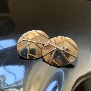 Vintage Silver Abstract Pattern Clip-On Earrings